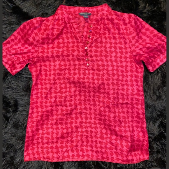 NWOT - BR Pink & Red Houndstooth Blouse